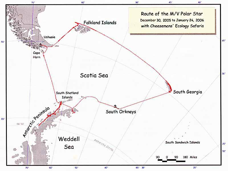 Antarctic Peninsula cruise map
