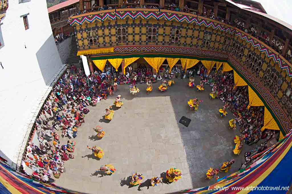 paro-Dzong-Tsechu-performance-panorama