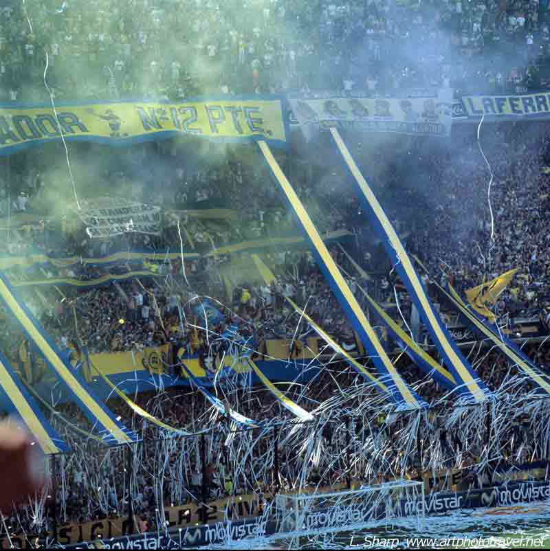 Boca-Fans-at-the-Boca-vs-River-match-Boca-Stadium