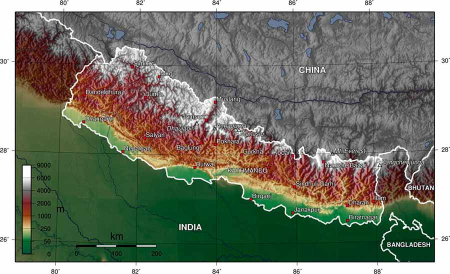 Dhaulagiri location map.