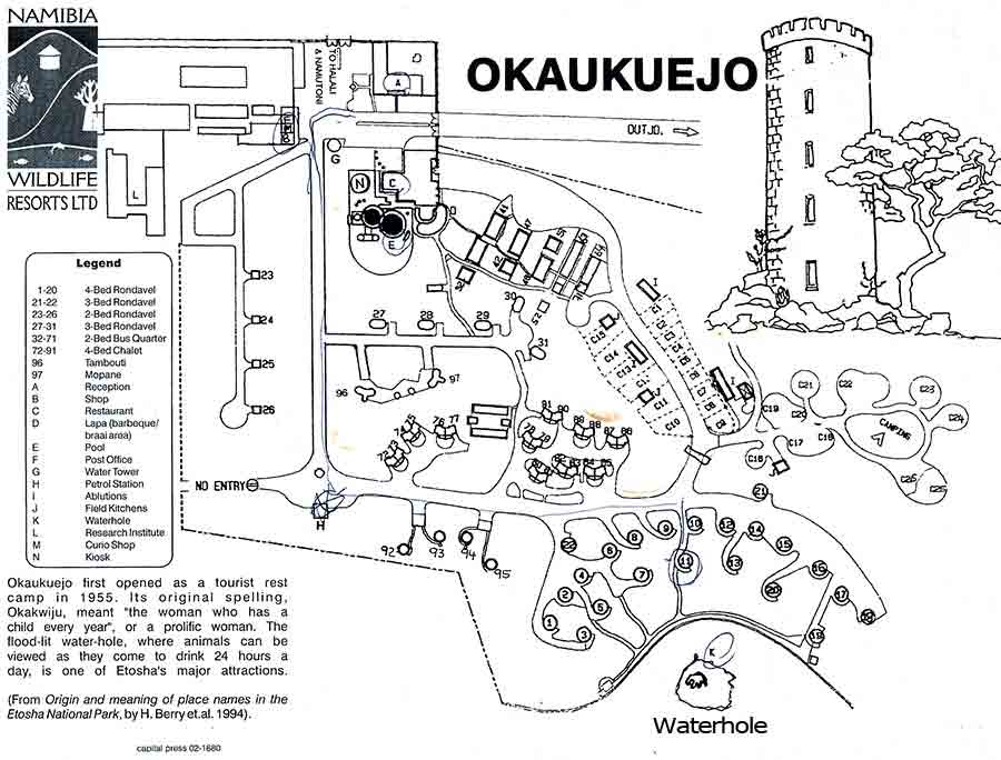 Okaukuejo camp map