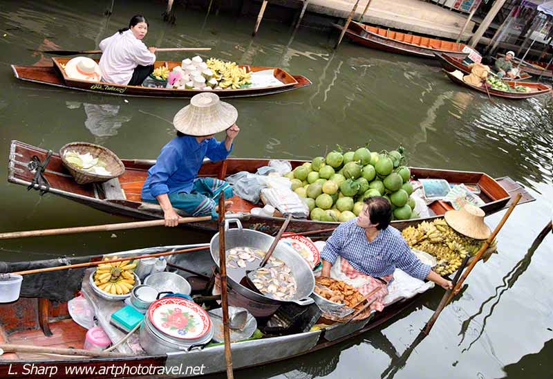 Traders at the floating markets.