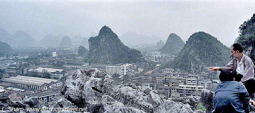 Guilin town and Karsts from Folded Brocade Hill