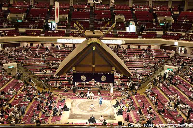 Sumo wrestling from 2nd floor Dohyo Ryogoku Kokugikan