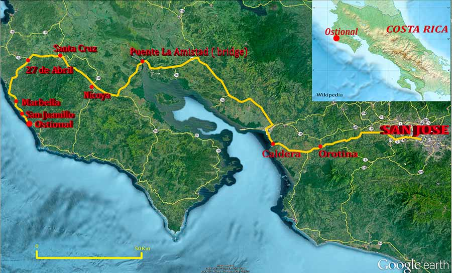 road-map-san-jose-to-ostional-costa-rica