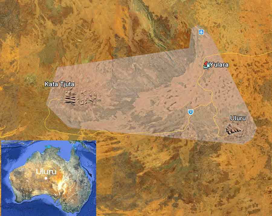 location map Uluru and Kata Tjuta