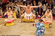 grand master Hakuho Sho performs Dohyo-iri