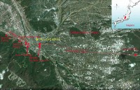 The Onbasira route for the upper shrine, Chino. Google earth