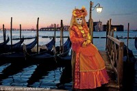 masked woman at dawn venice carnival