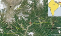 west Bhutan location map. Google Earth