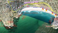 Bondi beach aerial map. Google earth.