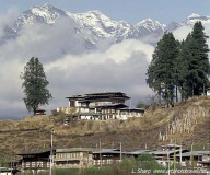 Bhutan dwellings and mountains, Paro