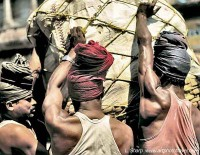 Porters lifting bail kolkata india