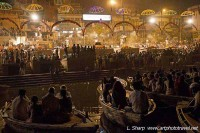 View of aarti from tourist boats varanasi india