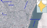 Varanasi Ghats location map. Google Earth